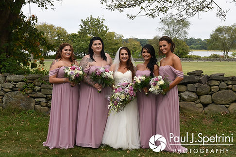 Stacey poses for a photo with her bridesmaids following her September 2017 wedding ceremony at Colt State Park in Bristol, Rhode Island.