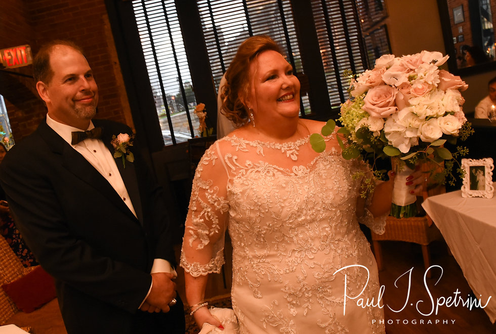 Patti and Bob arrive during their August 2018 wedding reception at the Olde Colonial Cafe in Norwood, Massachusetts.