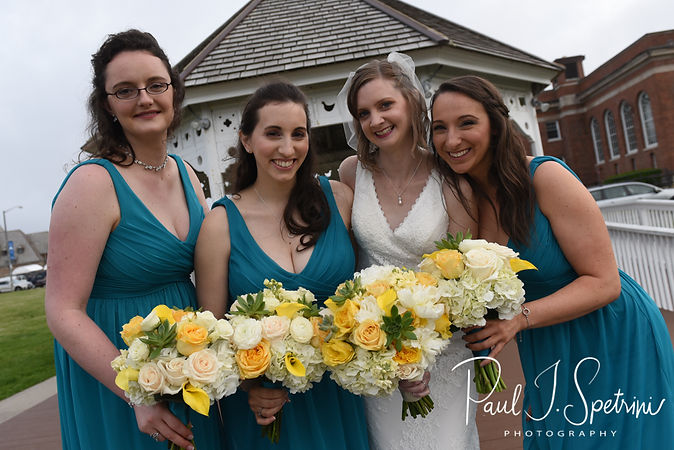 Amber and her bridesmaids pose for a photo following her bridal prep session at the Aqua Blue Hotel prior to her June 2018 wedding ceremony at North Beach Clubhouse in Narragansett, Rhode Island.