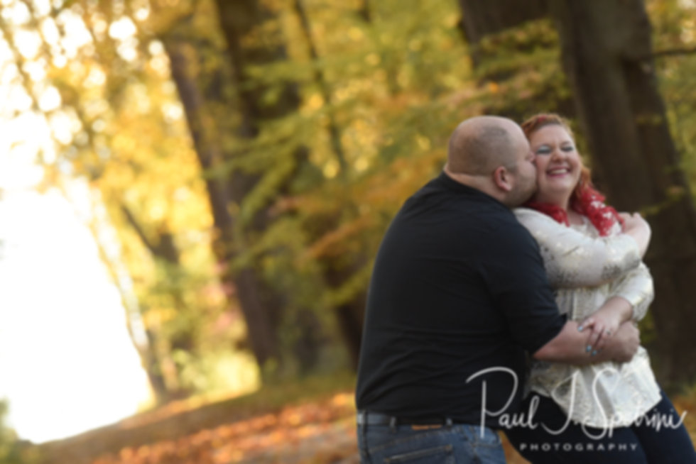 Kaitlyn & Even pose for a photo during their November 2018 engagement session at Blithewold Mansion in Bristol, Rhode Island.