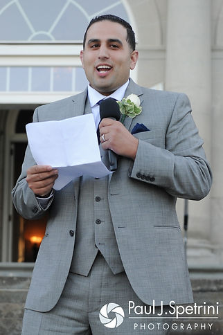 DJ's best man gives a speech during he and Amy's June 2016 wedding reception at Aldrich Mansion in Warwick, Rhode Island.