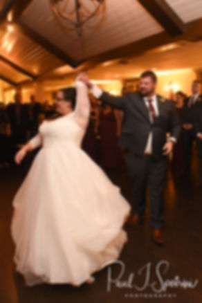 Katie & Steve dance during their October 2018 wedding reception at The Villa at Ridder Country Club in East Bridgewater, Massachusetts.