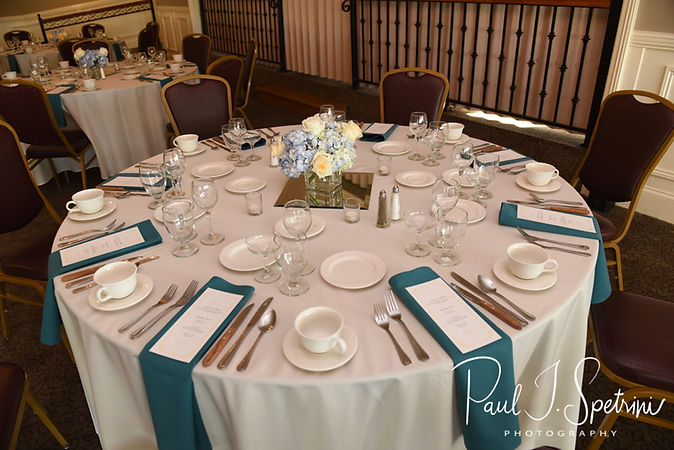 A look at Brian and Sarah's table settings, as seen during their June 2018 wedding reception at Pleasant Valley Country Club in Sutton, Massachusetts.
