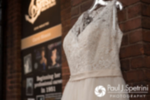 A look at Meridith's wedding dress prior to her May 2017 wedding ceremony at the Hope Artiste Village in Pawtucket, Rhode Island.