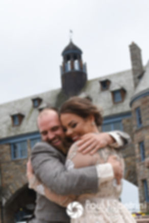 Arielle and Gary hug during a first look prior to their September 2017 wedding.