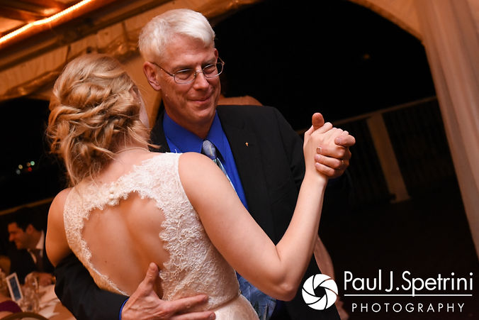 Rachel and her stepfather dance during her October 2017 wedding reception at Castle Manor Inn in Gloucester, Massachusetts.