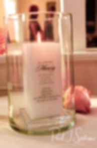 """A look at a special """"in memorium"""" candle prior to Jacob & Stephanie's June 2018 wedding reception at Foster Country Club in Foster, Rhode Island."""