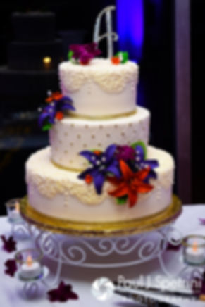 A look at Stephanie and Henry's wedding cake, on display during their October 2016 wedding reception at Lake Pearl Luciano's in Wrentham, Massachusetts.
