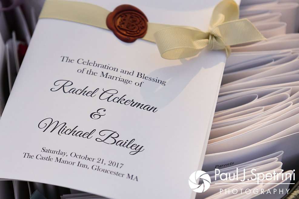 A look at the programs prior to Mike and Rachel's October 2017 wedding ceremony at Castle Manor Inn in Gloucester, Massachusetts.