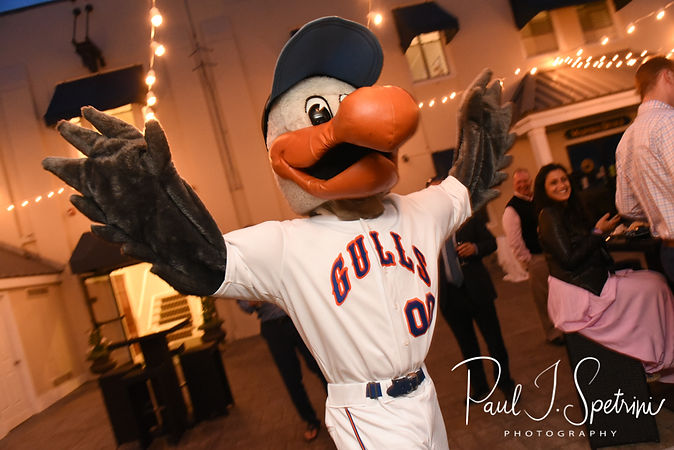 A mascot from the Newport Gulls arrives during Mike & Kate's May 2018 wedding reception at Regatta Place in Newport, Rhode Island.