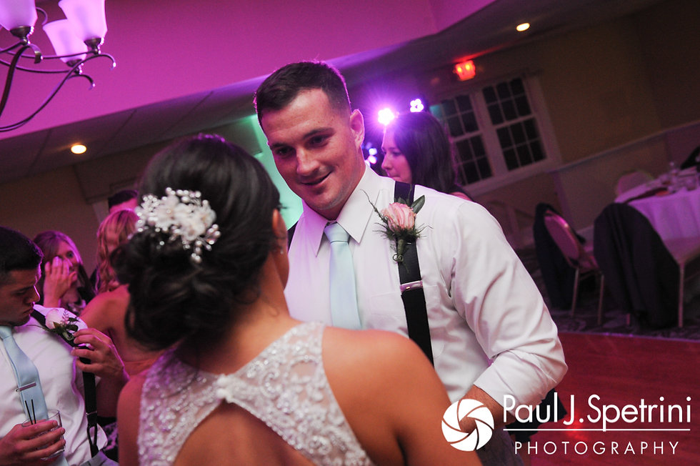Sean and Cassie dance during their July 2017 wedding reception at Rachel's Lakeside in Dartmouth, Massachusetts.