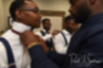 Richardson and his groomsmen get dressed prior to his August 2018 wedding ceremony at Glad Tidings Church in Quincy, Massachusetts.