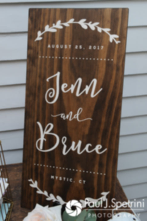 A look at the decorations prior to Jennifer and Bruce's August 2017 wedding reception at The Inn at Mystic in Mystic, Connecticut.
