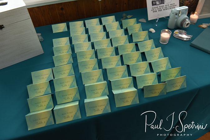 A look at the place cards during Amber & Justin's June 2018 wedding reception at North Beach Clubhouse in Narragansett, Rhode Island.