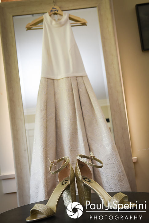 A look at Molly's wedding dress and shoes prior to her June 2017 wedding ceremony at Saint Romuald Chapel in Matunuck, Rhode Island.