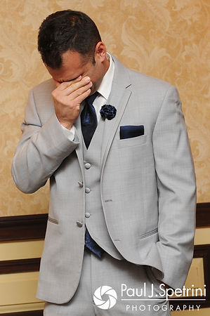 One of the best men cries during Nathan and Amy's November 2017 wedding reception at Quidnessett Country Club in North Kingstown, Rhode Island.