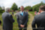 Justin Bolani awaits the arrival of his soon-to-be bride Jamie during their wedding  ceremony at Prescott Farms in Portsmouth, Rhode Island in June 2015.