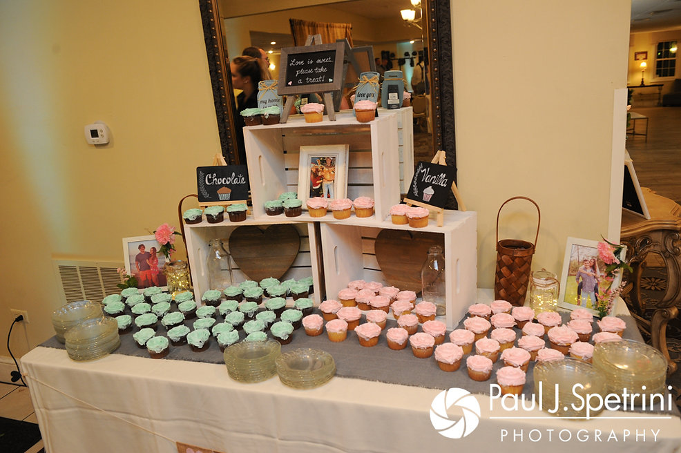 A look at the dessert table during Sean and Cassie's July 2017 wedding reception at Rachel's Lakeside in Dartmouth, Massachusetts.