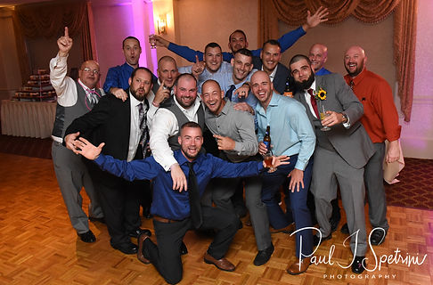 Jon poses for a group photo during his October 2018 wedding reception at Twelve Acres in Smithfield, Rhode Island.