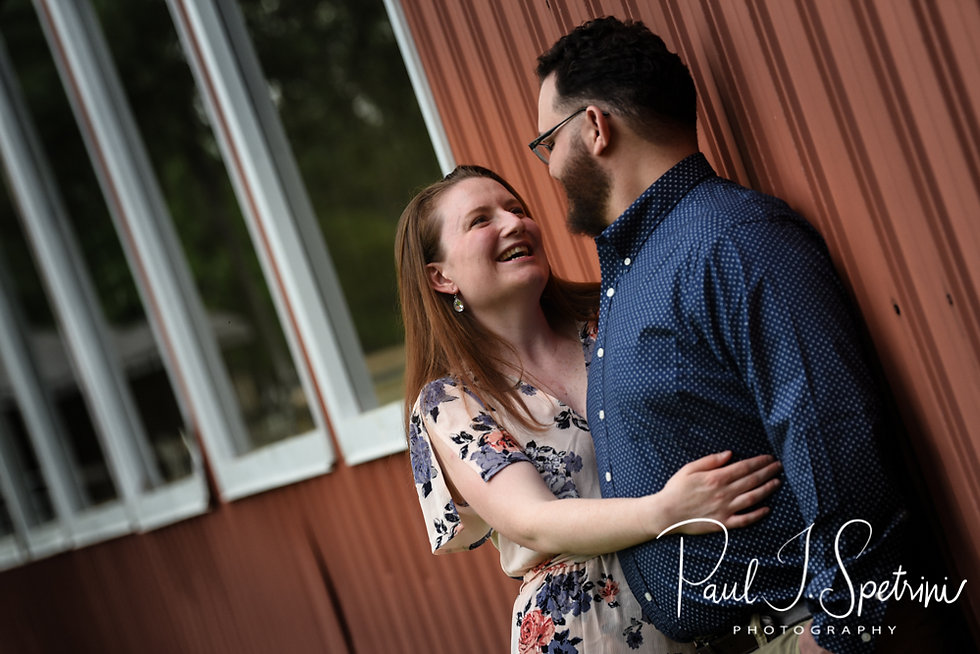 Rob & Allie pose for a photo during their June 2018 engagement session at Whispering Winds Farm in Chepachet, Rhode Island.
