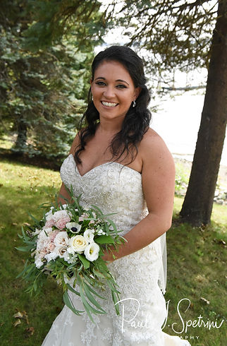 Miranda poses for a formal photo prior to her August 2018 wedding ceremony at the Squantum Association in Riverside, Rhode Island.