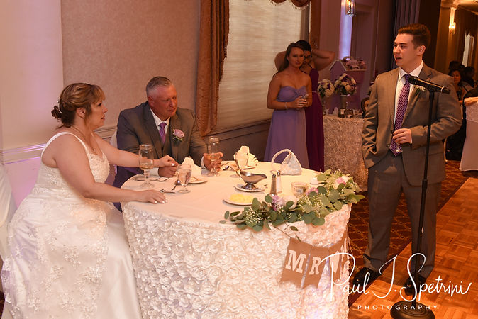 Robin's son gives a speech during his mom's August 2018 wedding reception at Twelve Acres in Smithfield, Rhode Island.
