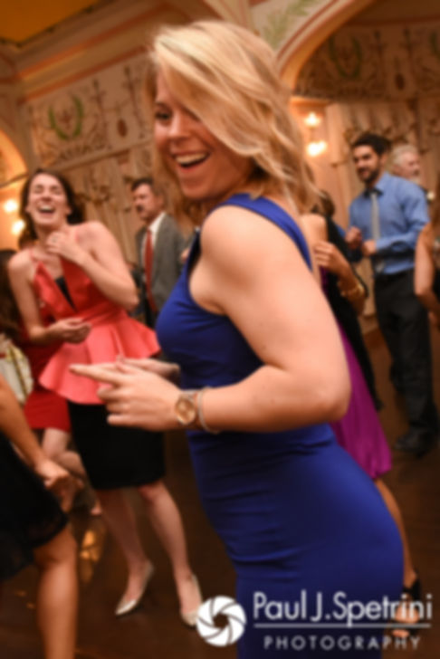 Guests dance during Allison and Len's September 2017 wedding reception at the Roger Williams Park Casino in Providence, Rhode Island.
