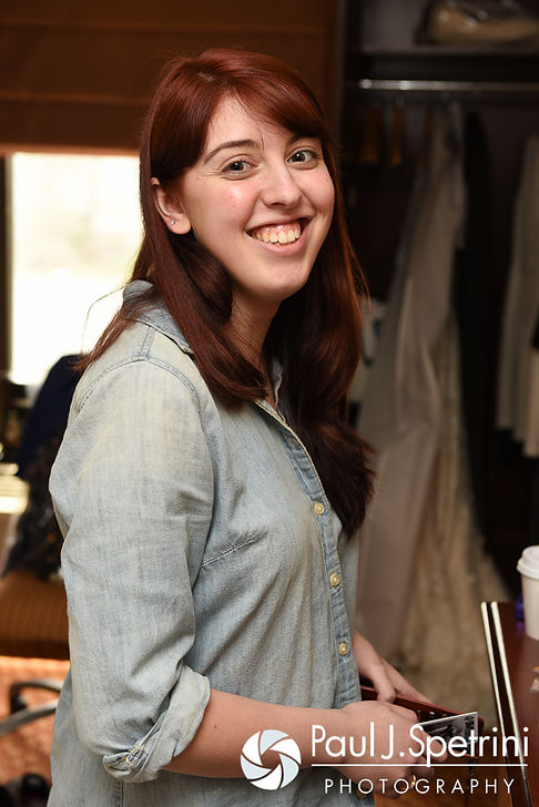 Ellen smiles before getting her hair and makeup done prior to her May 2016 wedding at Bittersweet Farm in Westport, Massachusetts.