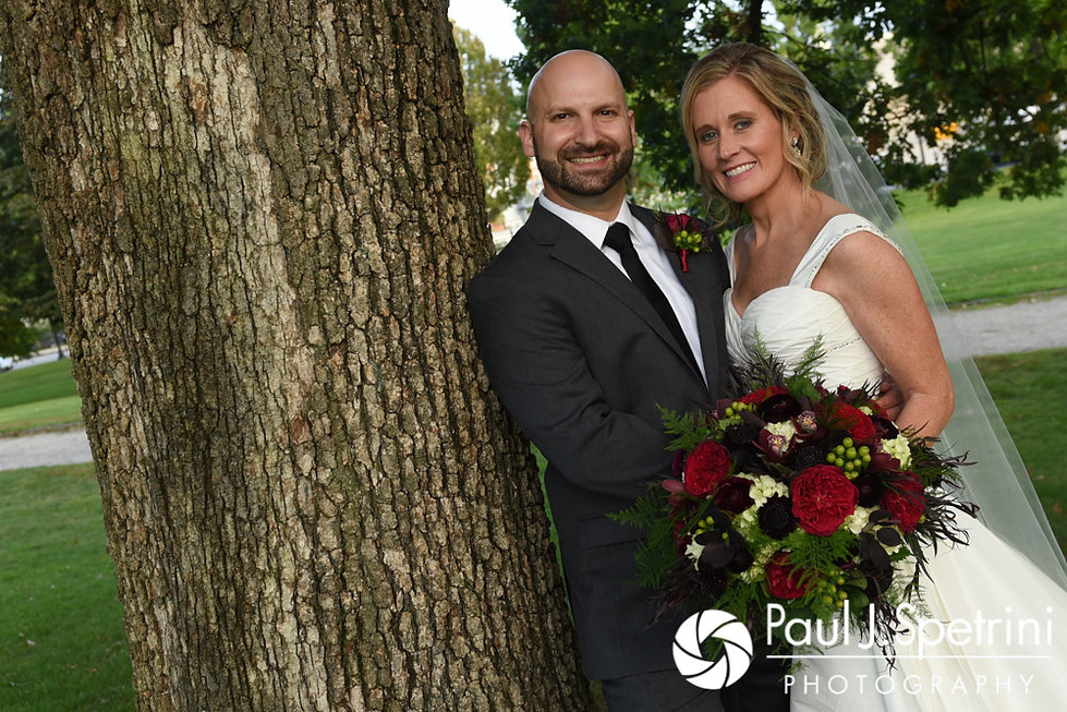 Tricia and Kevin pose for a formal photo at the Rhode Island Statehouse in Providence, Rhode Island prior to their their October 2017 wedding reception at the Providence Biltmore.