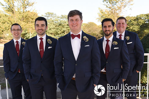 Mike poses for a photo with his groomsmen prior to his October 2017 wedding ceremony at Castle Manor Inn in Gloucester, Massachusetts.