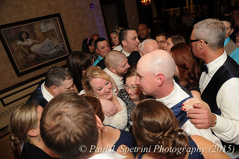 Guests dance at Kerry and Adam's fall wedding at Quidnessett Country Club in North Kingstown, Rhode Island on October 23rd, 2015.