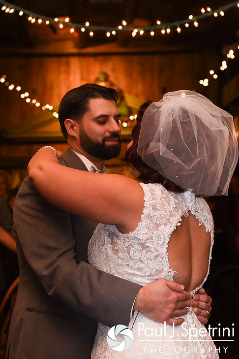 Crystal and Andy dance during their November 2016 wedding reception at the Salem Cross Inn in West Brookfield, Massachusetts.