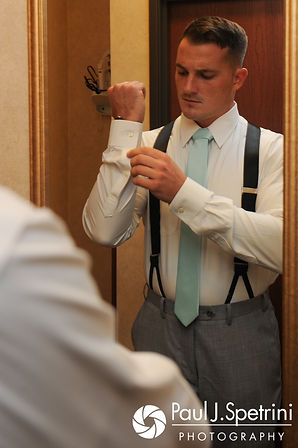 Sean adjusts his cuffs prior to his July 2017 wedding ceremony at Rachel's Lakeside in Dartmouth, Massachusetts.
