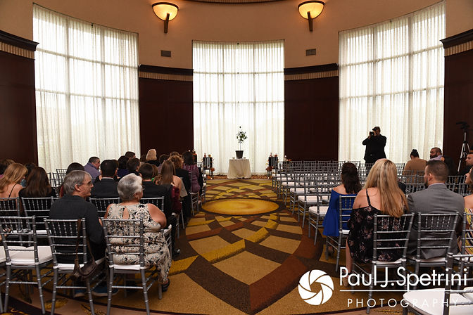 A look at the ceremony space prior to Dallas and Nicky's September 2017 wedding ceremony at the Crowne Plaza Hotel in Warwick, Rhode Island.