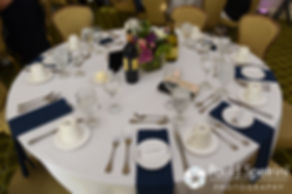 A look at the table settings during Alyssa and Alex's August 2016 wedding reception at LeBaron Hills Country Club in Lakeville, Massachusetts.