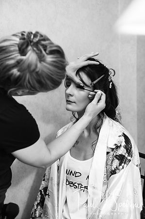 Beth has her makeup done prior to her August 2018 wedding ceremony at Fort Phoenix in Fairhaven, Massachusetts.