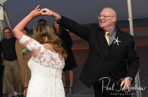 Cara and her father dance during her November 2018 wedding reception at the North Beach Clubhouse in Narragansett, Rhode Island.