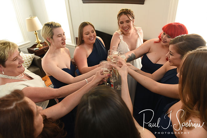 Ali toasts with her bridesmaids prior to her May 2018 wedding ceremony at the Roger Williams Park Botanical Center in Providence, Rhode Island.