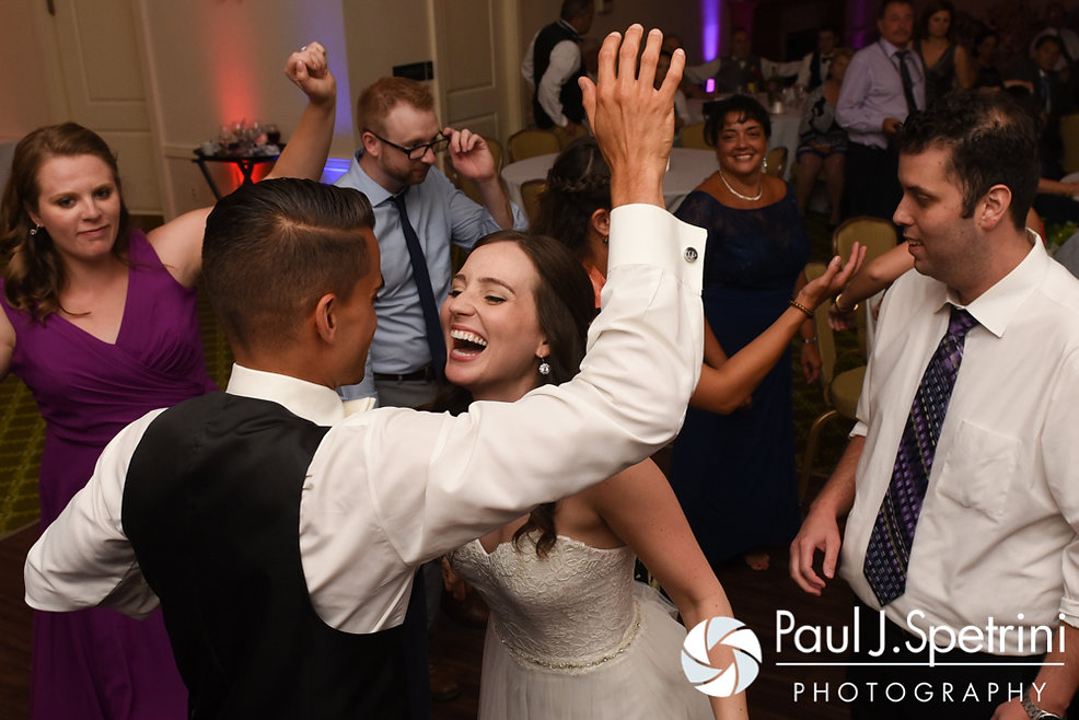 Alyssa and Alex dance with guests during their August 2016 wedding reception at LeBaron Hills Country Club in Lakeville, Massachusetts.
