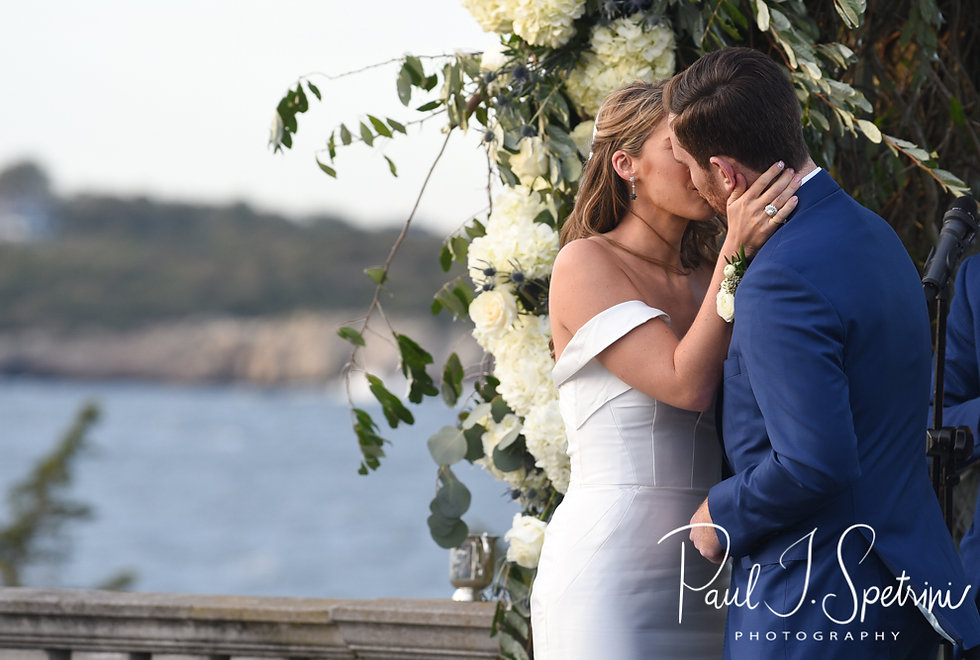 David and Whitney kiss during their October 2018 wedding ceremony at Castle Hill Inn in Newport, Rhode Island.