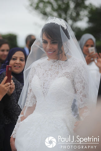 Nashua walks down the aisle during her July 2017 wedding ceremony at Belle Mer in Newport, Rhode Island.