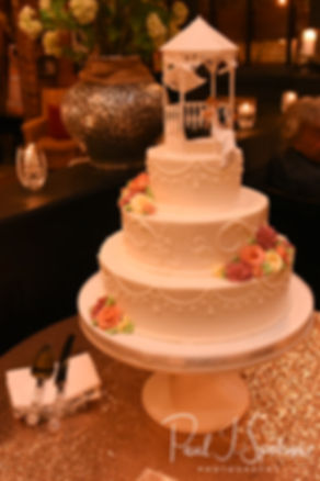 A look at the wedding cake, on display during Patti & Bob's August 2018 wedding reception at the Olde Colonial Cafe in Norwood, Massachusetts.