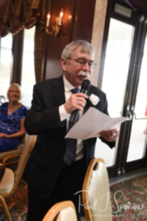 Katie's dad gives a toast during Sam and Katie's April 2018 wedding reception at Quidnessett Country Club in North Kingstown, Rhode Island.