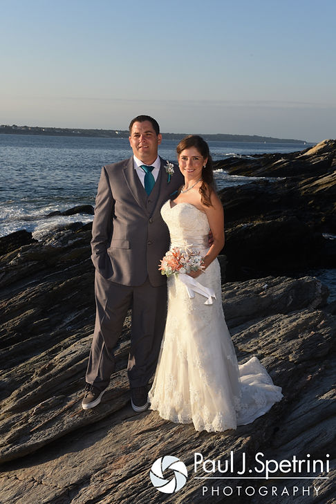Marissa and Paul pose for a photo following their September 2016 wedding ceremony at Beavertail Lighthouse in Jamestown, Rhode Island.