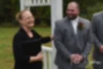 Jon laughs during his October 2018 wedding ceremony at Twelve Acres in Smithfield, Rhode Island.