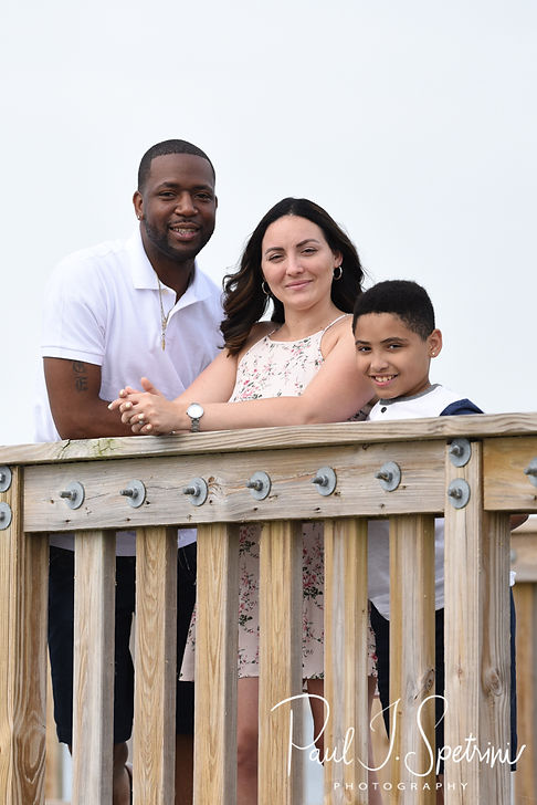 Amanda & Terrance pose for a photo with Amanda's son Gianni during their June 2018 engagement session at Colt State Park in Bristol, Rhode Island.