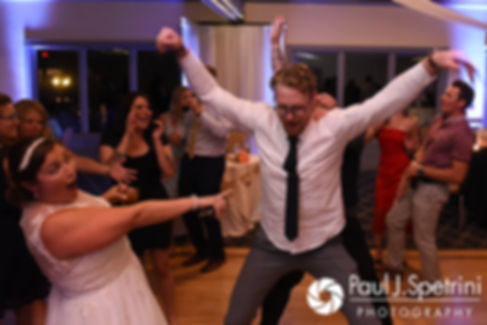 Toni dances with guests during her August 2017 wedding reception at Crystal Lake Golf Club in Mapleville, Rhode Island.
