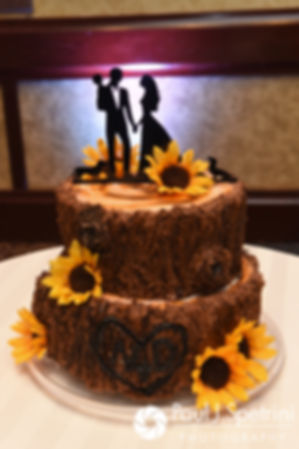 A look at the wedding cake prior to Dallas and Nicky's September 2017 wedding reception at the Crowne Plaza Hotel in Warwick, Rhode Island.