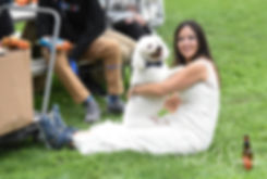 Amanda and her dog play during her October 2018 wedding reception at Loon Pond Lodge in Lakeville, Massachusetts.