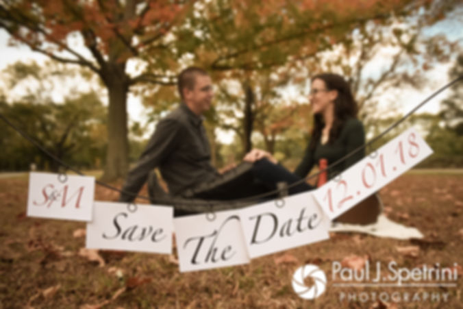 Stacey & Mack pose for a formal photo during their October 2017 engagement session at Goddard Park in East Greenwich, Rhode Island.